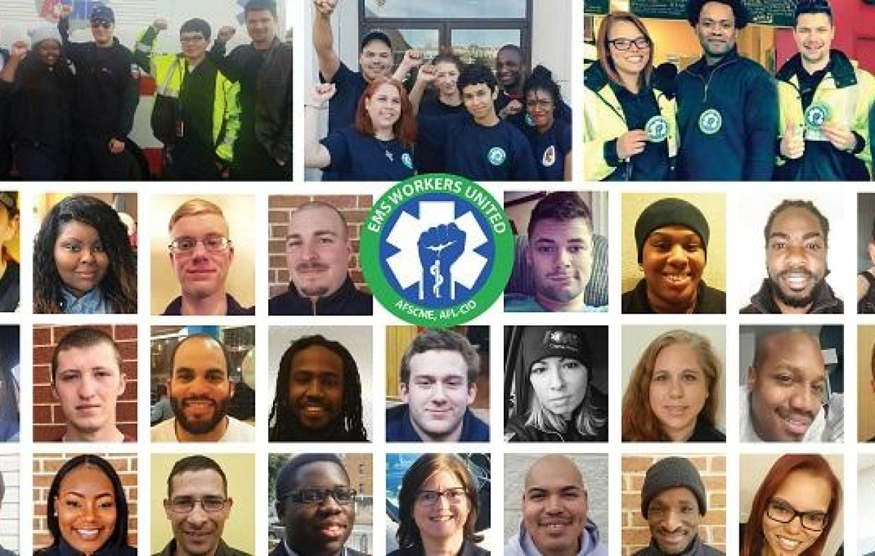 Collage of EMS Workers, representing solidarity and unity