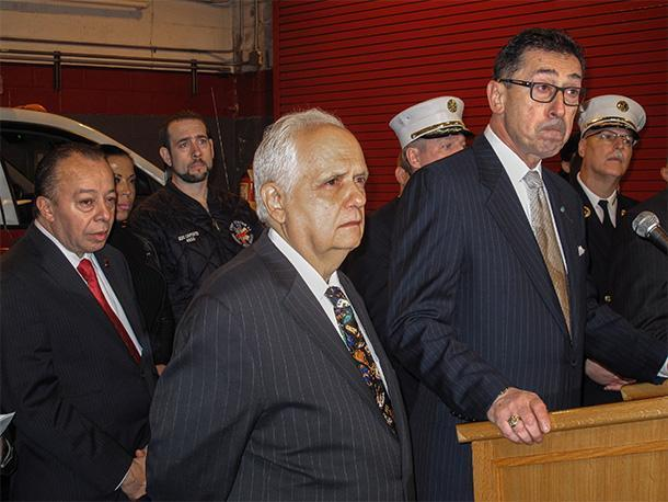 (from left): Local 2507 Pres. Israel Miranda, New York State Assemblyman Joseph Lentol, and New York Fire Department Commissioner Daniel Nigro.