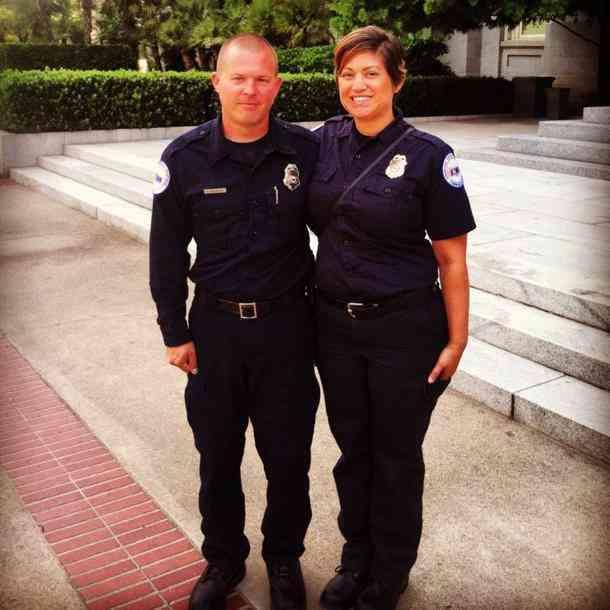 Dispatcher Yolanda Matos-McClintock and her husband Kris at the California state Capitol during EMS Week 2014.